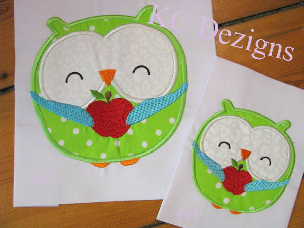 Owl With Apple Applique