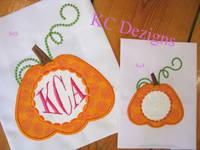 Pumpkin With Monogram Circle Applique