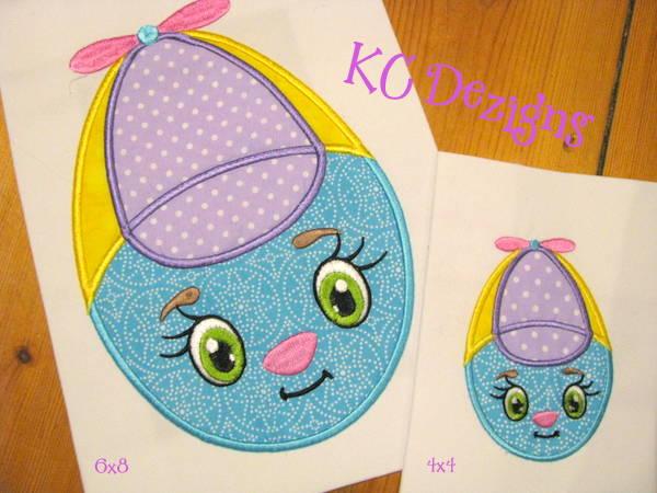 Fun face easter egg machine applique embroidery design