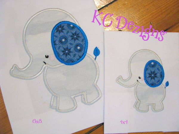 Baby Elephant Side View Applique