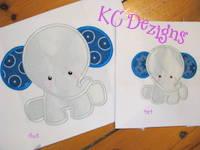 Baby Elephant Sitting 01 Applique