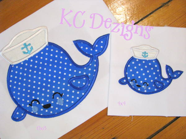 Nautical whale with hat machine applique embroidery design kc