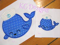 Nautical Whale With Hat 1 Applique