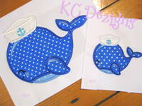 Nautical Whale With Hat 2 Applique