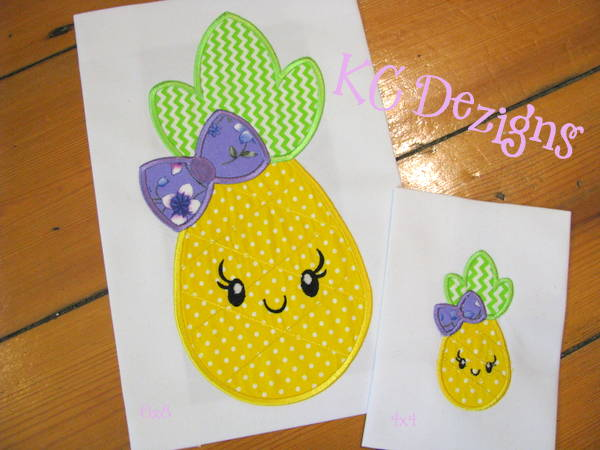 Pineapple With Bow Front Applique