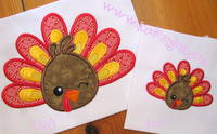 Turkey Face With Feathers Applique