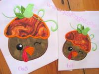Turkey With Pumpkin Hat Applique