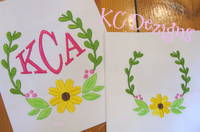 Flower Monogram Frame 02 Embroidery