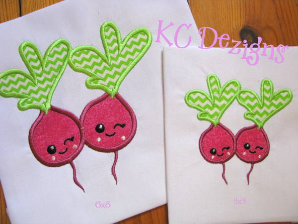 Valentine Love Beetroots Machine Applique Embroidery Design Kc