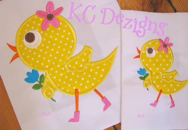 Flower Easter Chick Applique