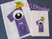 Silly Monster Number 1 Applique