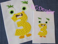 Silly Monster Number 3 Applique