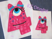 Silly Monster Number 4 Applique