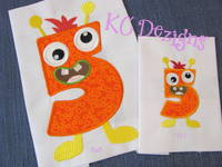 Silly Monster Number 5 Applique
