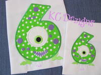 Silly Monster Number 6 Applique