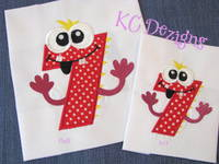 Silly Monster Number 7 Applique