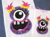 Silly Monster Number 8 Applique