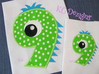 Silly Monster Number 9 Applique