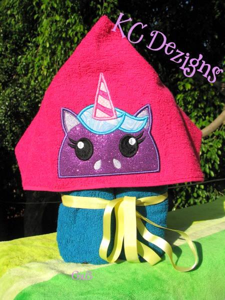 Unicorn Hooded Towel Machine Applique Embroidery Design Kc Dezigns