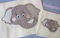 Elephant Face Machine Applique