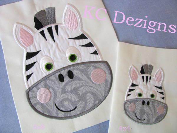 Zebra face machine applique embroidery design kc dezigns