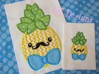 Pineapple With Bow Tie Machine Applique