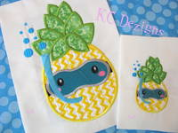 Pineapple With Swimming Mask Machine Applique