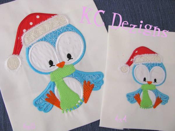 Christmas Bird With Santa Hat Machine Applique