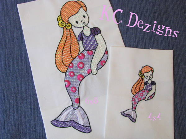 Mylar Mermaid 05 Machine Embroidery