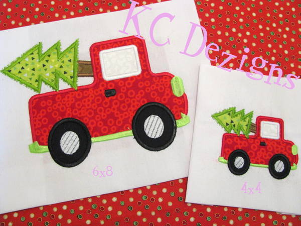 Truck With Christmas Tree Machine Applique Design