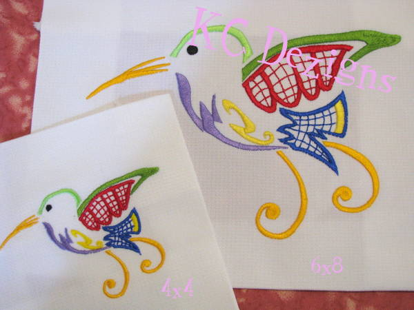 Outline Hummingbird 06 Embroidery