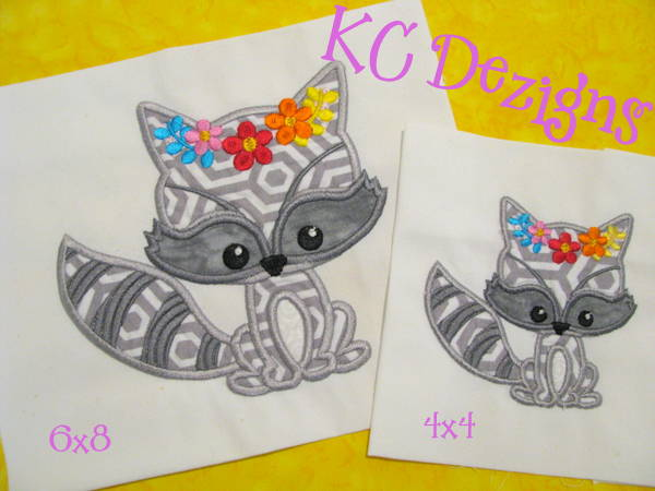 Baby Raccoon With Flowers Applique