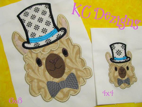 Llama Face With Top Hat Applique