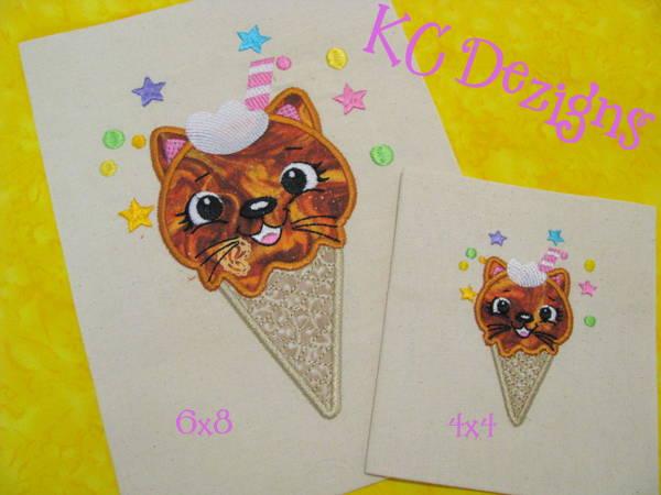 Ice Cream Kitten Applique