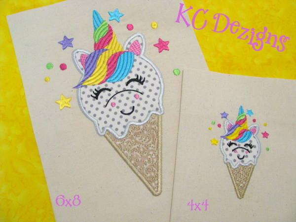 Unicorn Ice Cream Applique