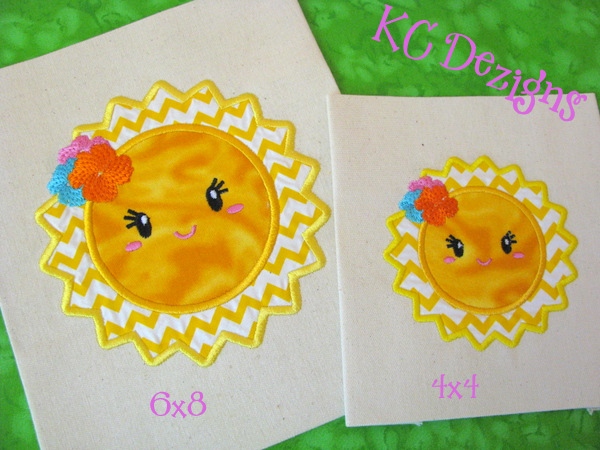 Baby Sun With Flowers Applique