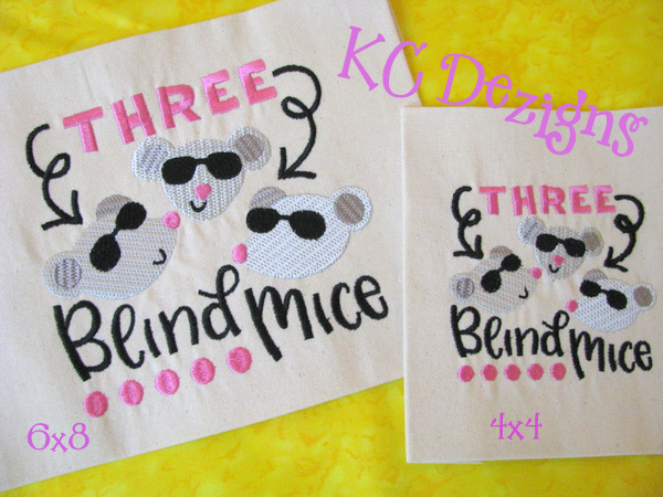 Three Blind Mice Embroidery