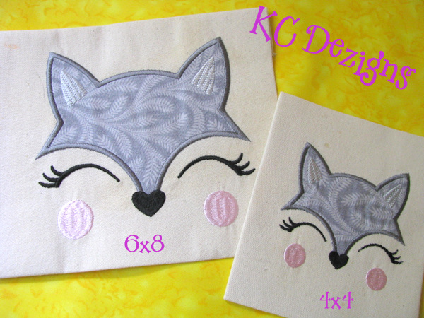 Girly Wolf Face Applique