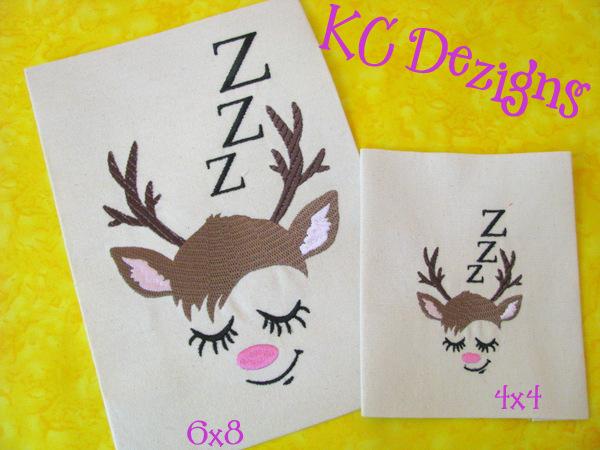 Reindeer Face Sleeping Embroidery