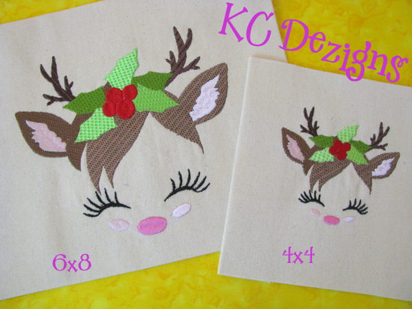 Reindeer Face With Holly Embroidery