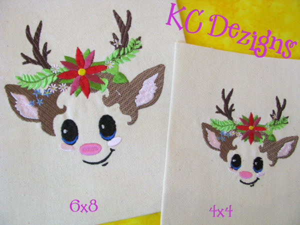 Reindeer Face With Pointsettia Embroidery
