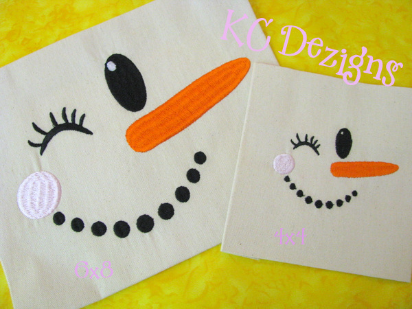 Snowman Winky Face Embroidery