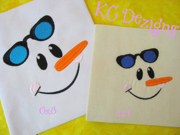 Snowman Face With Glasses Embroidery