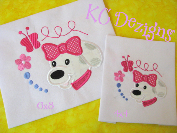 Puppy Face With Bow Applique
