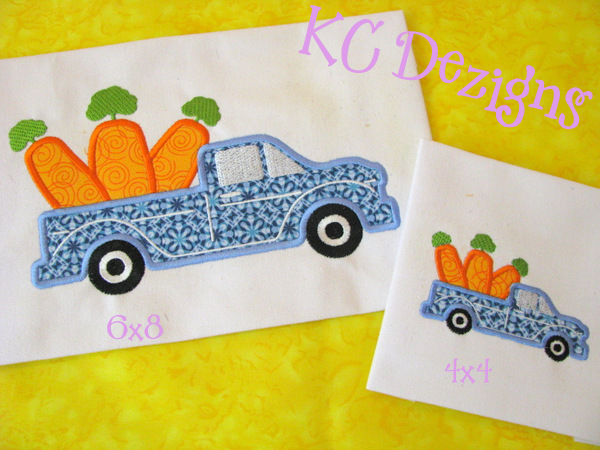 Easter Truck With Carrots Applique