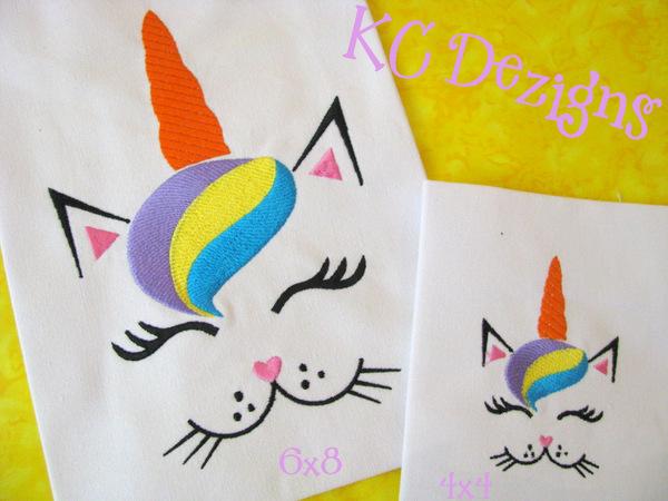 Cat Unicorn Face Embroidery