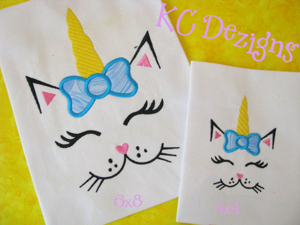 Cat Unicorn Face With Bow Applique