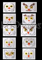 Owl Faces Machine Embroidery Design