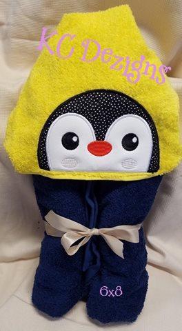 Penguin Hooded Towel Machine Applique Embroidery Design Kc Dezigns