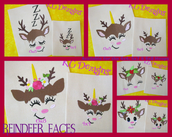 Reindeer Faces Full Set Embroidery